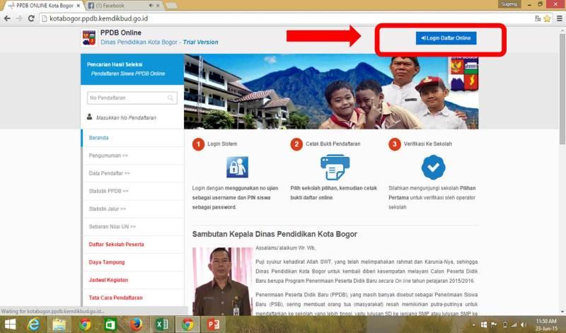 Akses situs lalu login