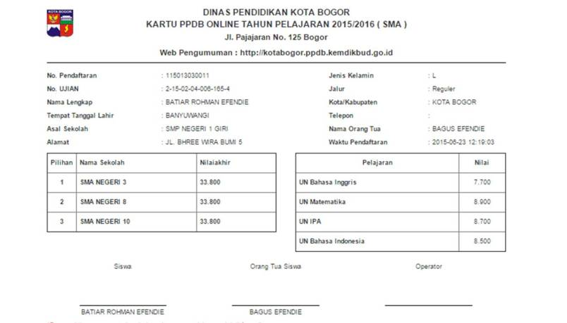 Contoh bukti pendaftaran